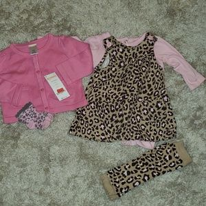 Gymboree Matching Sets - 6M Carter's leopard dress set, leg warmers, cardig